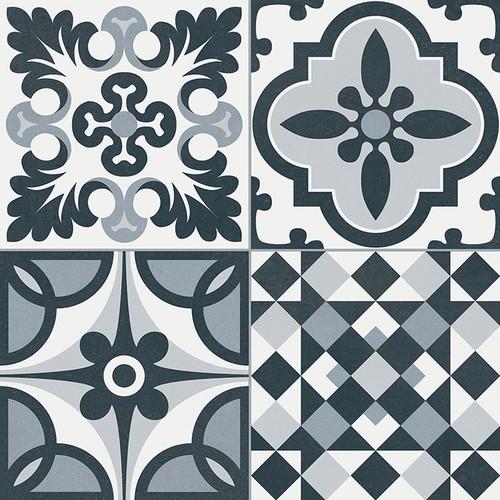 Carrelage style ancien ciment HERITAGE BLACK 33x33 cm -  - Echantillon - zoom