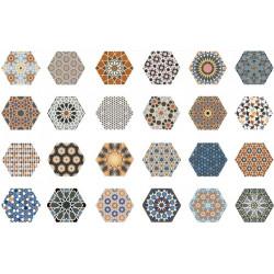 Carrelage tomette décorée style ciment 33x .5 ANDALUSI MIX -   - Echantillon Realonda