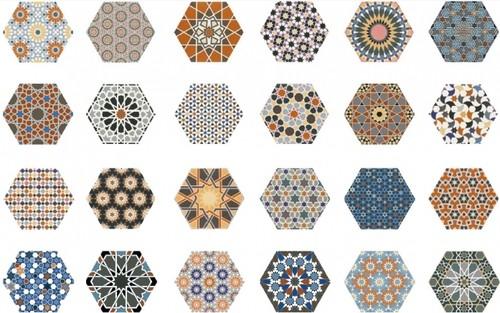 Carrelage tomette décorée style ciment 33x .5 ANDALUSI MIX -   - Echantillon - zoom
