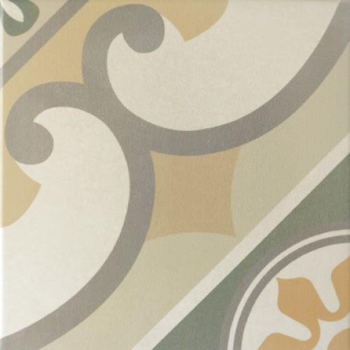Carrelage imitation ciment rosace CAPRICE BURGUNDY 20927 - 20x20 cm -   - Echantillon - zoom