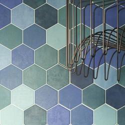 Carrelage tomette colorée style ciment bleu vert 26.5x51 cm HEX AQUAMARINE -   - Echantillon Realonda