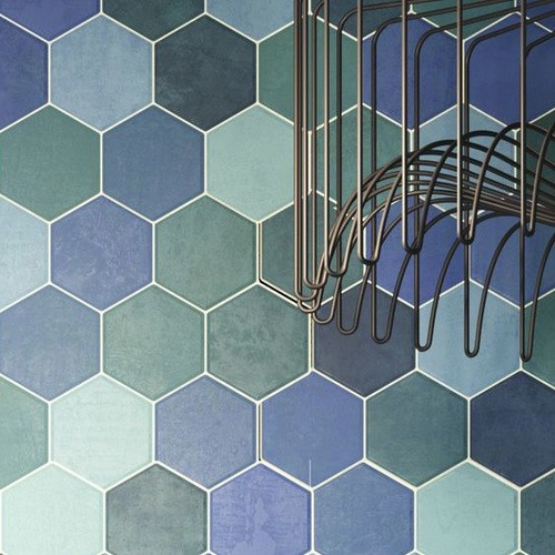 Carrelage tomette colorée style ciment bleu vert 26.5x51 cm HEX AQUAMARINE -   - Echantillon - zoom