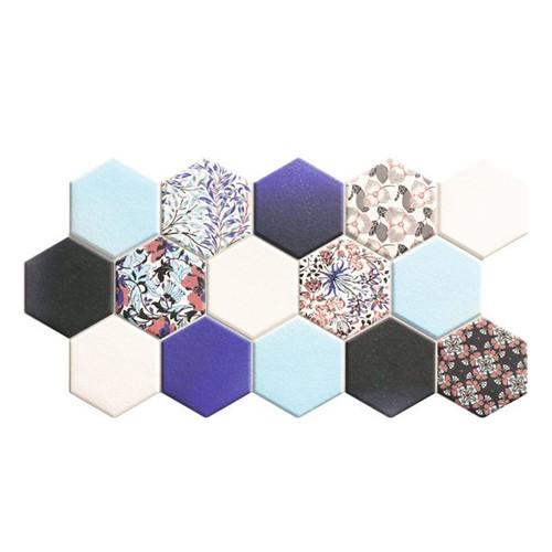 Carrelage tomette décorée style ciment bleu 26.5x51 cm HEX NOUVEAU BLUE -   - Echantillon - zoom