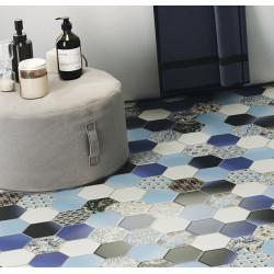 Carrelage tomette décorée style ciment bleu 26.5x51 cm HEX NOUVEAU BLUE -   - Echantillon Realonda