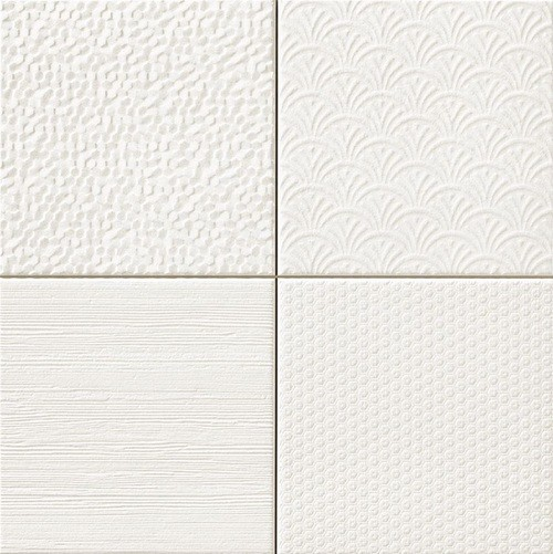 Carrelage style ciment faience précieuse effet metal GLINT BLANCO 44x44 cm -   - Echantillon - zoom