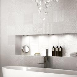 Carrelage style ciment faience précieuse effet metal GLINT BLANCO 44x44 cm -   - Echantillon Realonda