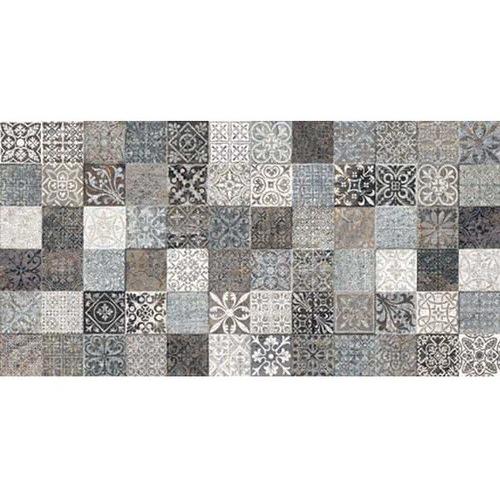 Faience style ciment mosaique gris décoré Deco Lys Grey 32x62.5 cm -   - Echantillon GayaFores