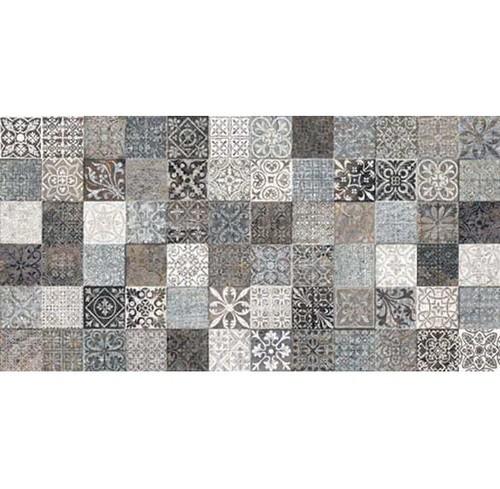 Faience style ciment mosaique gris décoré Deco Lys Grey 32x62.5 cm -   - Echantillon - zoom