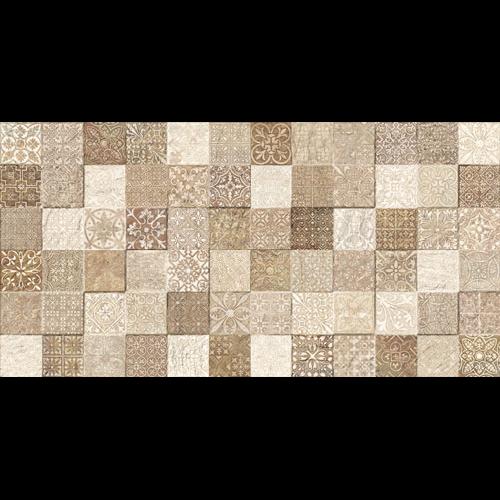 Faience style ciment mosaique beige décoré Deco Lys Arena 32x62.5 cm -   - Echantillon - zoom