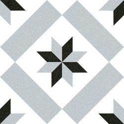 Carrelage imitation ciment étoile grise et noire 20x20 cm CALVET -   - Echantillon Vives Azulejos y Gres