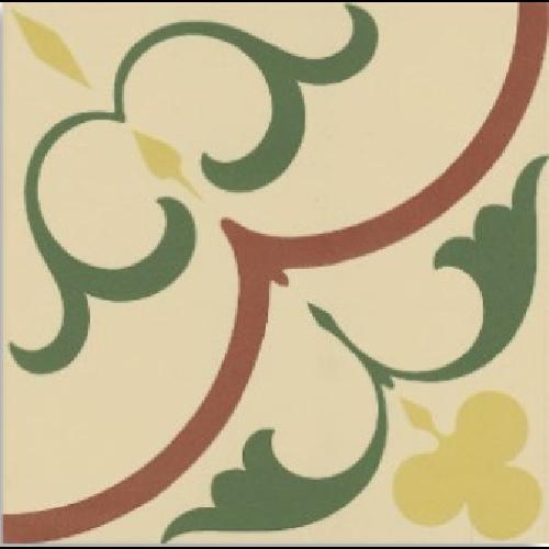 Carrelage imitation ciment rosace jaune verte beige 20x20 cm 1900 GAUDI -   - Echantillon - zoom