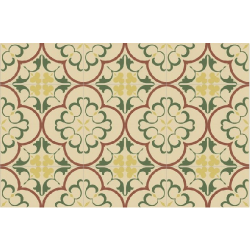 Carrelage imitation ciment rosace jaune verte beige 20x20 cm 1900 GAUDI -   - Echantillon Vives Azulejos y Gres