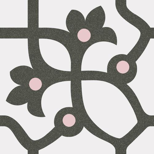 Carrelage imitation ciment anthracite et rose 20x20 cm JUJOL -   - Echantillon - zoom