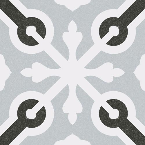 Carrelage imitation ciment croix grise et noire 20x20 cm LLAGOSTERA -   - Echantillon - zoom