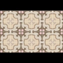 Carrelage imitation ciment rosace beige rose 20x20 cm 1900 ORDAL -   - Echantillon Vives Azulejos y Gres