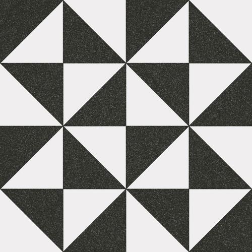 Carrelage style ciment triangles blanc noir 20x20 cm 1900 TERRADES Grafito -   - Echantillon - zoom