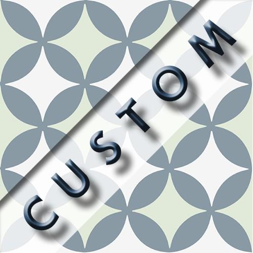 Carreau imitation ciment personnalisable 20x20 cm CUSTOM QUATRE FEUILLE - Echantillon - zoom