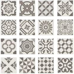 Carrelage imitation ciment gris taupe marron et blanc mix 20x20 cm ANTIGUA GRIS R10 -   - Echantillon Ribesalbes
