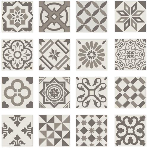 Carrelage imitation ciment gris taupe marron et blanc mix 20x20 cm ANTIGUA GRIS R10 -   - Echantillon - zoom