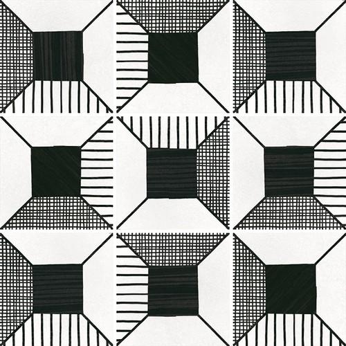 Carrelage imitation ciment 20x20 cm CAPRICE DECO BLOCK B&W 22122-   - Echantillon - zoom
