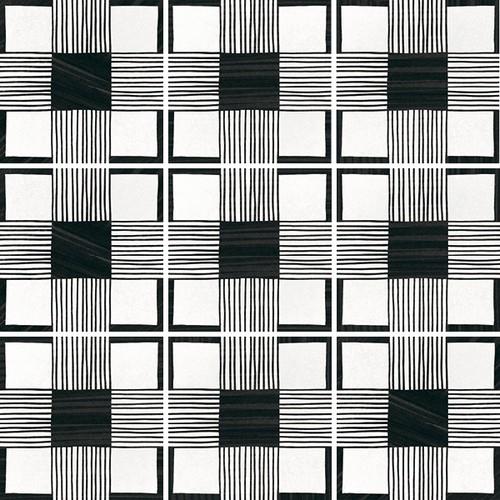 Carrelage imitation ciment 20x20 cm CAPRICE DECO CLOTH B&W 22124-   - Echantillon - zoom