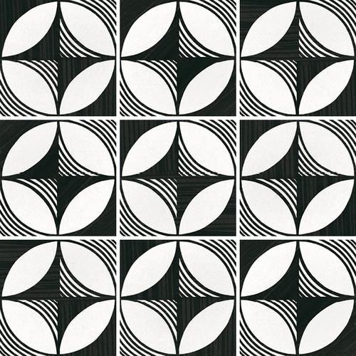 Carrelage imitation ciment 20x20 cm CAPRICE DECO COMPASS B&W 22123-   - Echantillon - zoom