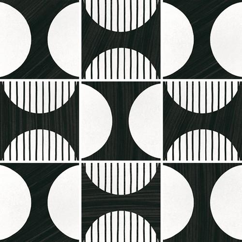 Carrelage imitation ciment 20x20 cm CAPRICE DECO MOONLINE B&W 22126-   - Echantillon - zoom