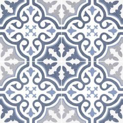 Carrelage imitation ciment rosace bleu OLD SCHOOL BRIANA MARINE 45x45 cm -  - Echantillon Dualgres