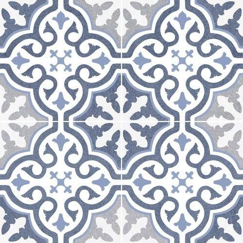 Carrelage imitation ciment rosace bleu OLD SCHOOL BRIANA MARINE 45x45 cm -  - Echantillon - zoom