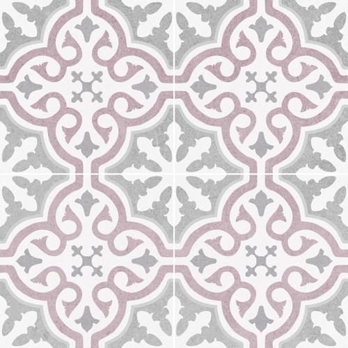 Carrelage imitation ciment rosace lie de vin OLD SCHOOL BRIANA ROSE 45x45 cm -  - Echantillon - zoom