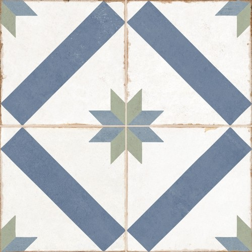 Carrelage style ciment étoile blanc et bleu OLD SCHOOL MARAU R10 45x45 cm -  - Echantillon Dualgres