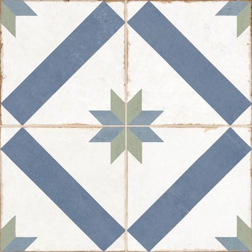 Carrelage style ciment étoile blanc et bleu OLD SCHOOL MARAU R10 45x45 cm -  - Echantillon - zoom
