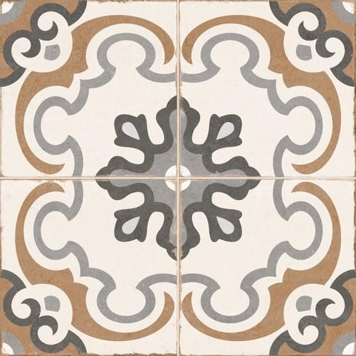 Carrelage style imitation ciment rosace vintage sol ciment OLD SCHOOL TIROKO 45x45 cm - 1.42m2 - Echantillon Dualgres