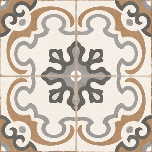 Carrelage style imitation ciment rosace vintage sol ciment OLD SCHOOL TIROKO 45x45 cm - 1.42m2 - Echantillon - zoom