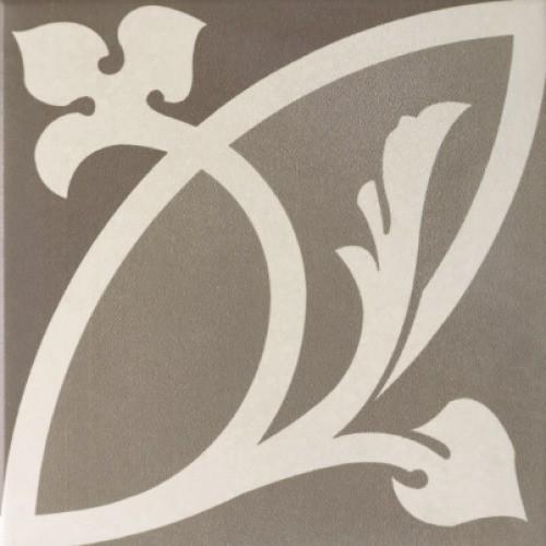 Carrelage imitation ciment rosace fleurie 20x20 cm CAPRICE LIBERTY TAUPE 20933 -   - Echantillon - zoom