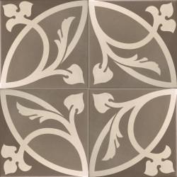 Carrelage imitation ciment rosace fleurie 20x20 cm CAPRICE LIBERTY TAUPE 20933 -   - Echantillon Equipe