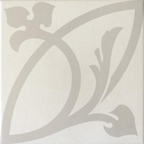 Carrelage imitation ciment rosace CAPRICE LIBERTY WHITE 20934 - 20x20 cm -   - Echantillon - zoom