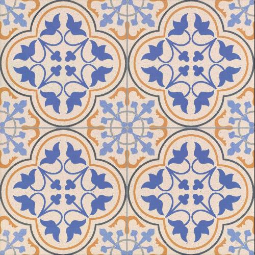 Carrelage style ancien bleu ESCOCIA DECO 44x44 cm -   - Echantillon - zoom