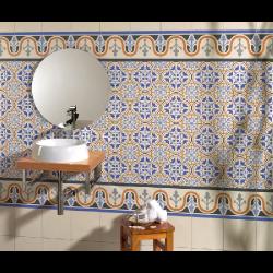 Carrelage style ancien bleu ESCOCIA DECO 44x44 cm -   - Echantillon Realonda
