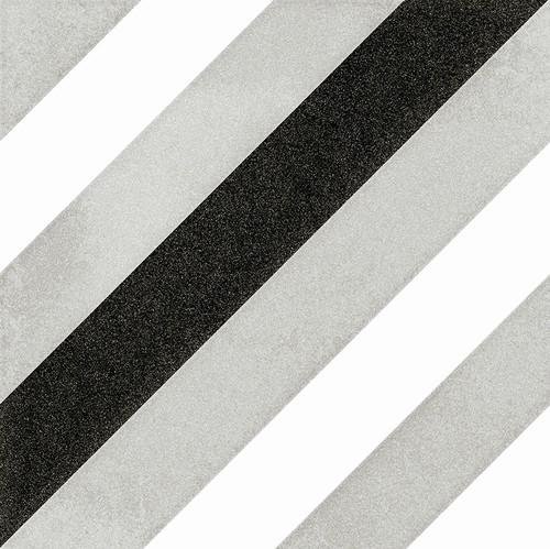 Carrelage géométrique noir et gris 20x20 cm SCANDY ETT -   - Echantillon - zoom
