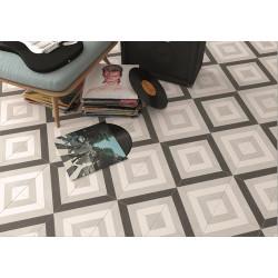 Carrelage géométrique noir et gris 20x20 cm SCANDY ETT -   - Echantillon Vives Azulejos y Gres