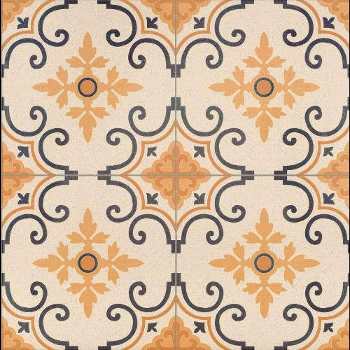 Carrelage style ancien orangé GALES DECO 44x44 cm -   - Echantillon - zoom