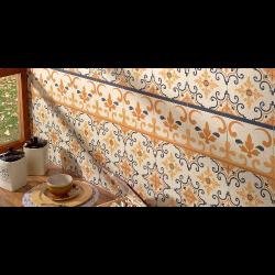 Carrelage style ancien orangé GALES DECO 44x44 cm -   - Echantillon Realonda