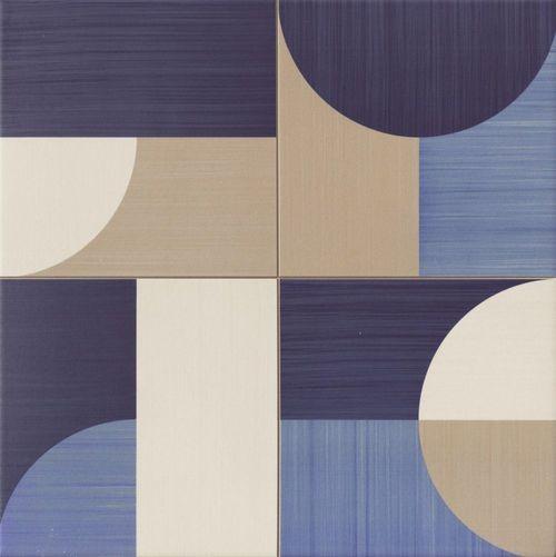 Carrelage pop art deco bleu MOON BLUE 44x44 cm -   - Echantillon - zoom
