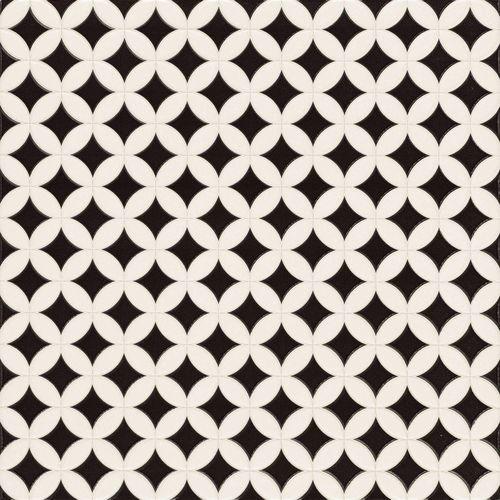 Carrelage pétale noir et blanc ORLY 44x44 cm -   - Echantillon - zoom