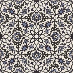 Carrelage azulejos fleurs bleues ORLY DECO 44x44 cm -   - Echantillon Realonda