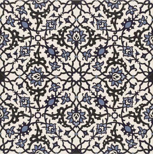 Carrelage azulejos fleurs bleues ORLY DECO 44x44 cm -   - Echantillon - zoom