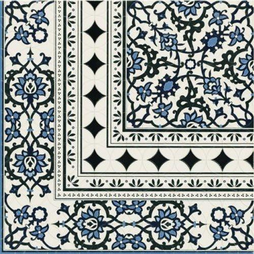 Carrelage azulejos fleurs bleues ORLY DECO ESQUINA (angle) 44x44 cm - unité - Echantillon - zoom