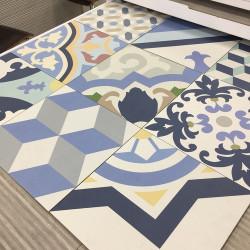 Carrelage style ciment mix bleu 33x33 cm HANOI BLUE -   - Echantillon Realonda