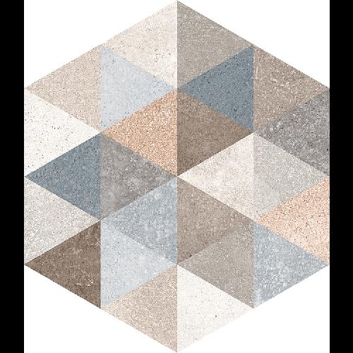 Carrelage hexagonal tomette décor 23x26.6cm FINGAL -   - Echantillon - zoom